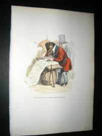 Grandville des Animaux 1842 Hand Col Print. Bull & Pig Signing Petition